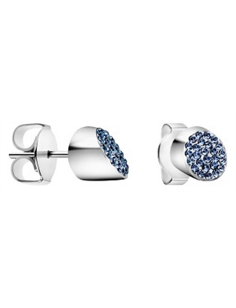 Stud Earrings With Blue Swarovski Crystals