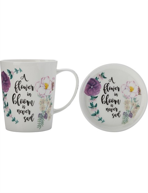 RBG 'Flower Bloom' Green Thumb Mug & Coaster