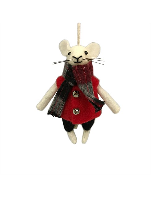 Ornament Wool Mouse With Red Jumper