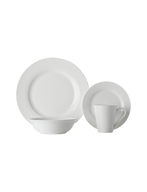White Basics Cosmopolitan Rim Dinner Set 16pc