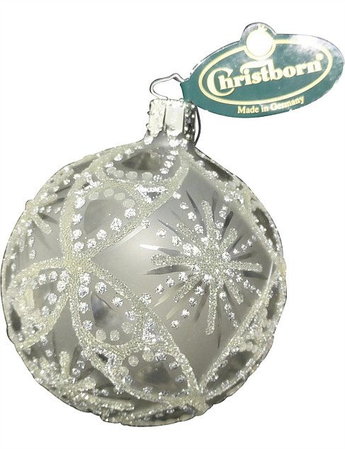 ORN-BAUBLE TRANSPARENT SILVER WITH GLITTER BURST 8CM