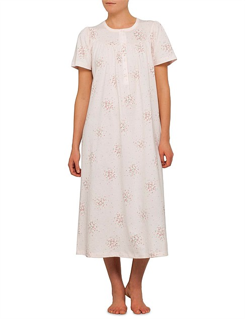 Short Sleeve Small Floral Yoke Nightie