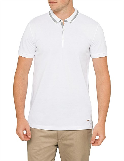 Polo shirt with collar insert detail