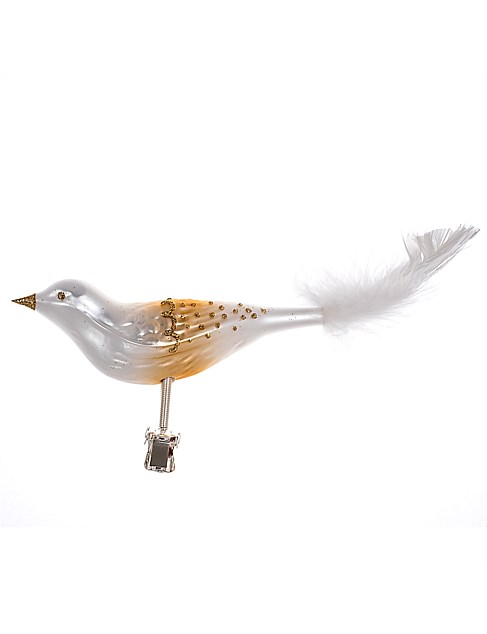 Ornament Glass White Bird Gold Detail Feathertail