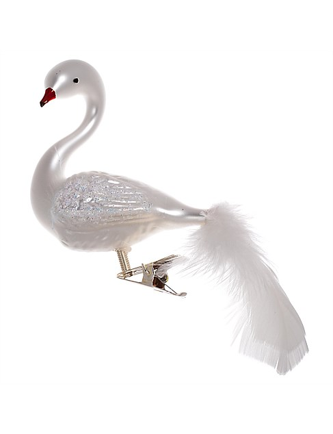 Ornament Glass Swan Matte White Red Beak Feathertail