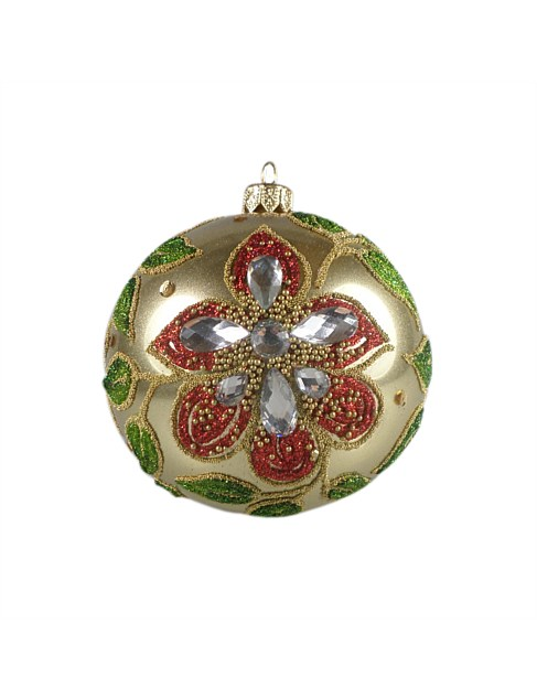 ORN-BAUBLE CHAMPAGNE BALL WITH MULTI BEAD FLOWERS 10CM