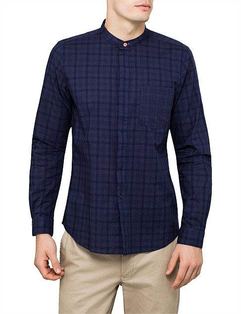 Cotton Overdyed Check L/S Shirt W/ Stand Collar