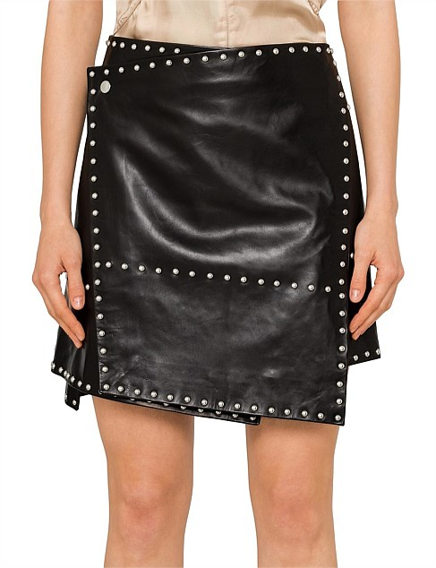 NAPPA STUDDED LEATHER SKIRT