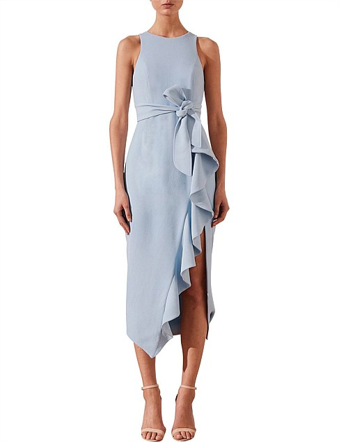 Celeste Ruffle Front Midi With Belt