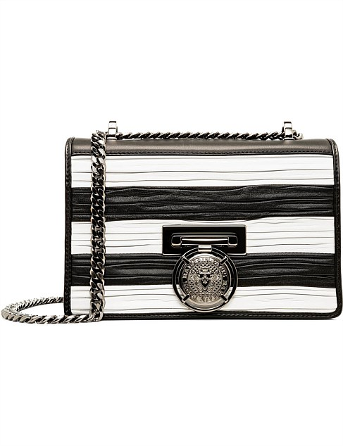 FLAP BAG BBOX 20 STRIPES-PLEATED SMOOTH LEATHER