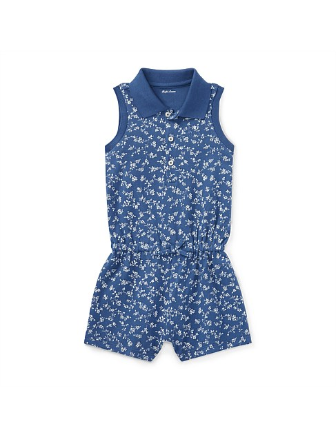 Floral Mesh Polo Romper(6-24 Months)