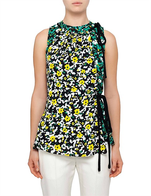 Wildflower Sleeve Less Asym Printed Viscose Georgette Top