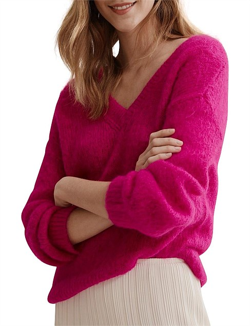 Fluffy Double V-Neck Sweater