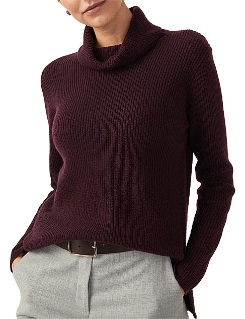 Wool Cashmere Textured Roll Neck