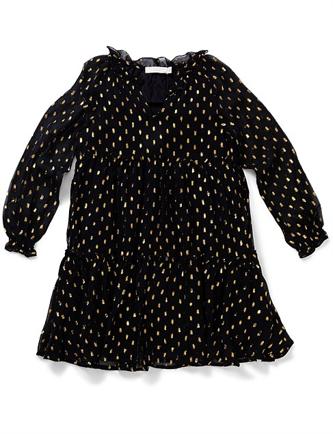 Constance Girl Dress Gold Spot (4-10Years)