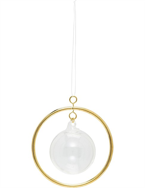 ORN-Clear glass bauble with round with metal frame