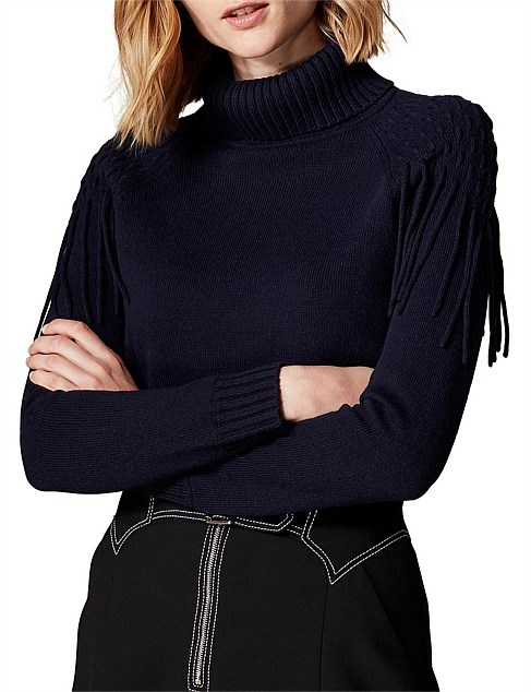 FRINGED ROLL-NECK JUMPER