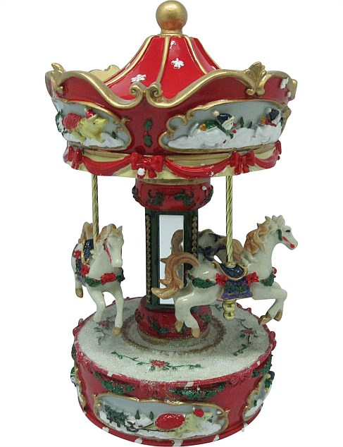 23cm Resin Carousel Musical Table Décor