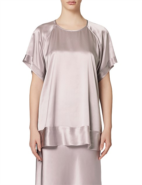 ROSE SILK SATIN S/S TOP