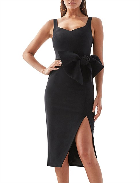 BLACK OUT  BOW MIDI DRESS