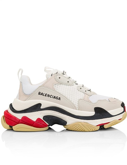 TRIPLE S SNEAKER TRICOLOR SOLE WHITE/ RED/ BLACK