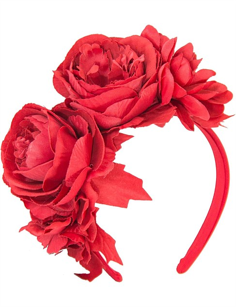 large red roses on the headband