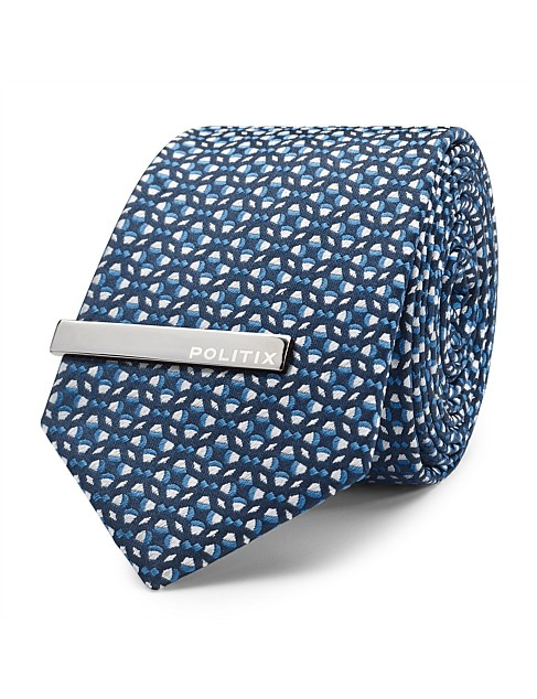 Brozzi Pattern Tie With Tie Bar