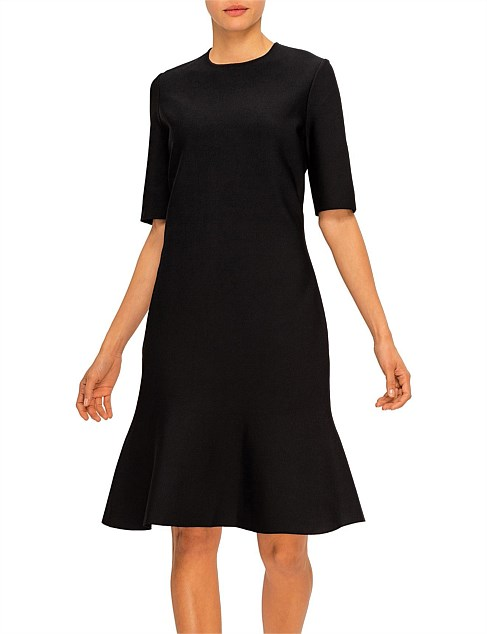 Luxe Sculpture Knit Elbow Sleeve Fit & Flare Dress