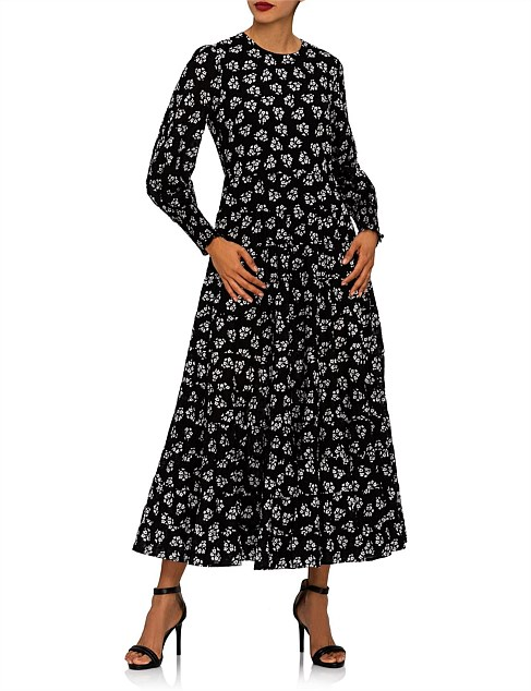 PIP BUNCH SHADOW FLORAL DRESS - BLACK WHITE DRESS