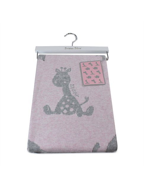 PINK ANIMAL KNIT BLANKET