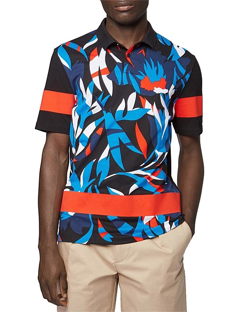 Knitted Cotton Piqué Polo Shirt With Printed Front Panel
