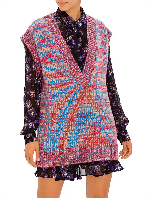 HAND KNIT WOOL SLEEVE LESS VEST