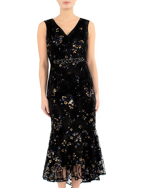 VENETIAN SEQUIN MESH DRESS