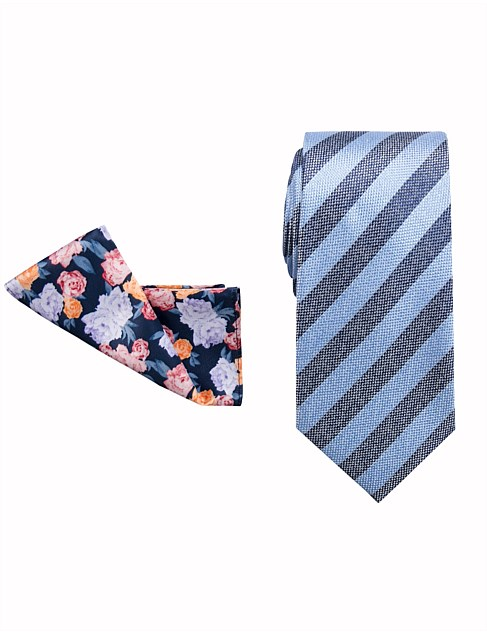 TIE AND POCKET SQUARE FLORAL/STRIPE