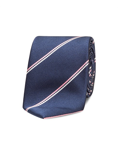 Navy with Pink Stripe Tie
