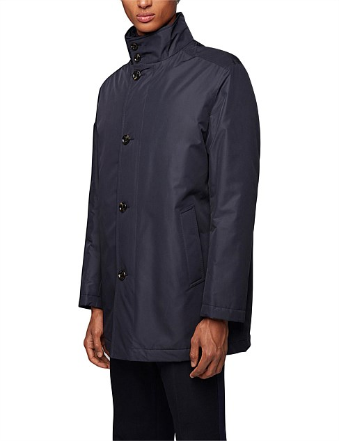 Water-Repellent Car Coat With Quilted Lining