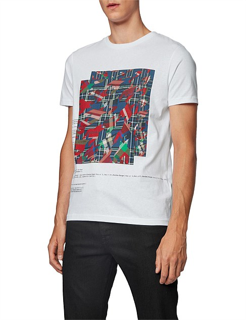 Cotton T-Shirt With Mixed Algorithm Print