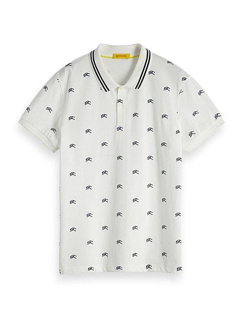 CLASSIC PIQUE POLO WITH ALL-OVER PATTERN