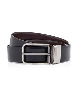 Reversible Spanish Texas Leather Belt With Gunmetal Buckle