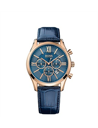 Boss Mens Rnd Blue Chrono  Blue Leather Strap