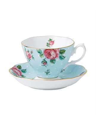 Polka Blue Teacup/Saucer