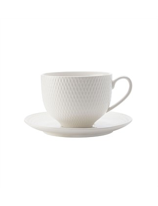 Diamonds White Basics Tea Cup & Saucer 210ml