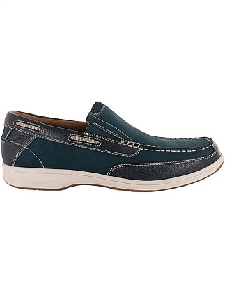 Miami Leather Boat Shoe W/ Rubber Sole