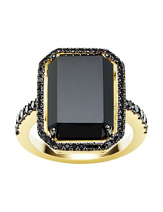 18ct Onyx  Black Diamond La Rambla Ring