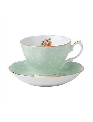 Polka Rose Teacup/Saucer Set
