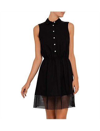 Cotton Poplin Dress With Colar And Mesh Detail