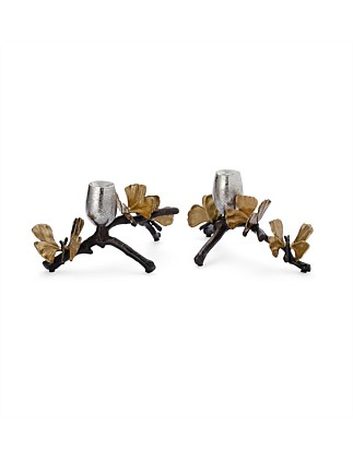 Butterfly Gingko Candle Holders (Set Of 2)