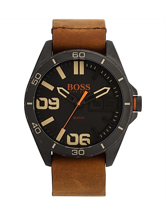 Berlin Rnd Black Dial, Ip Black Case, Brown Lthr Strp
