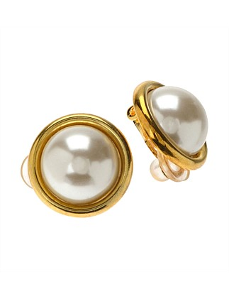 Classic Pearl Earring Half Round 12mm Gold