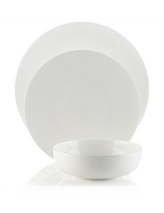 12pc White Coupe Dinner Set
